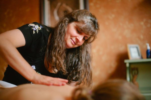 A massage therapist at work in North Lake Tahoe at The Sanctuary